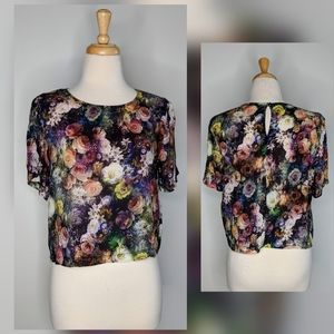 Forever 21   cropped floral shirt   small